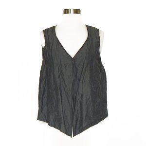 Eileen Fisher Charcoal Gray Snap Front Vest Size M